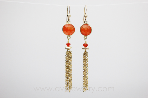 Carnelian Tassel Earrings