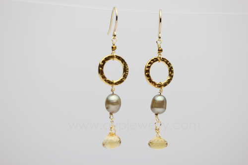 Citrine Pearl Drop Earrings