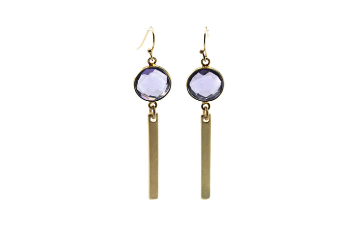 Amethyst Bar Earrings