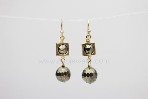Pyrite Squared Earrings