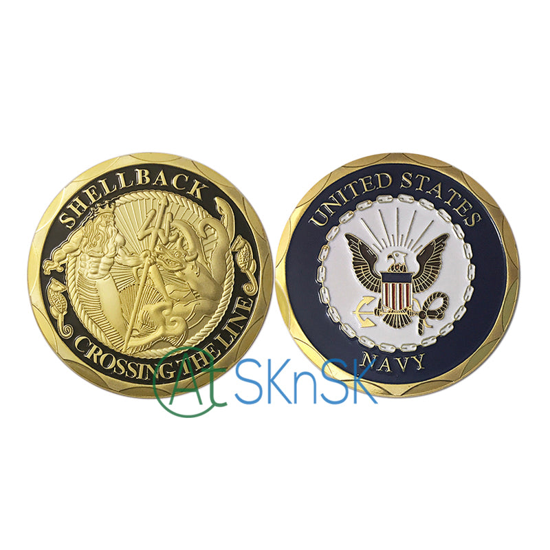 New U S  Navy Challenge Coin,Shellback Navy Marine Corps Challenge Coin  with Liberty Eagle Collection Military Army Coins gift