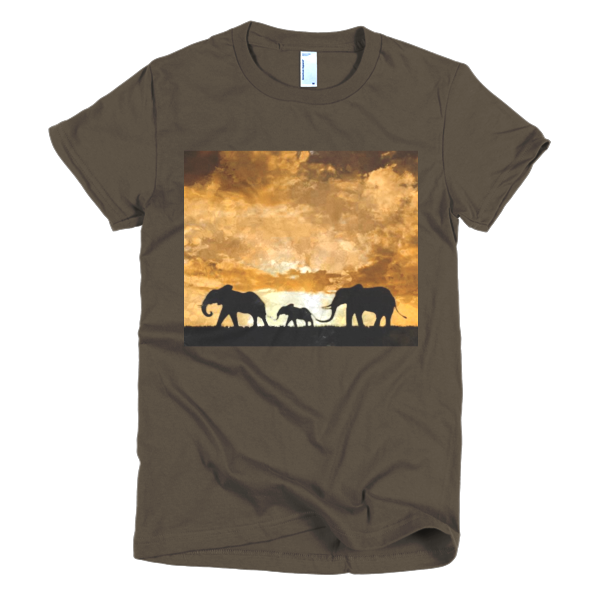 """Protect the Elephants,"" Short sleeve women's t-shirt - t-shirt - COOLEST PRINTED T-SHIRTS, TANKS, TOTES & HOODIES BY JANET'S ARTWORK - 3"