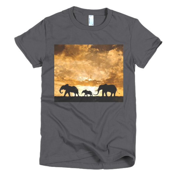 """Protect the Elephants,"" Short sleeve women's t-shirt - t-shirt - COOLEST PRINTED T-SHIRTS, TANKS, TOTES & HOODIES BY JANET'S ARTWORK - 2"