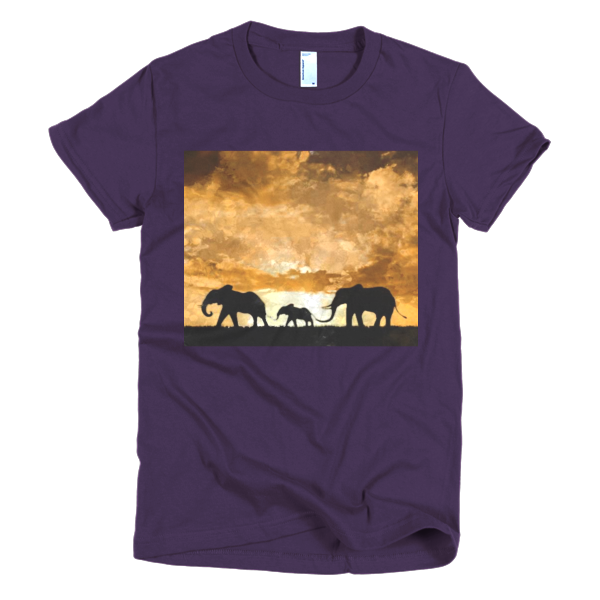 """Protect the Elephants,"" Short sleeve women's t-shirt - t-shirt - COOLEST PRINTED T-SHIRTS, TANKS, TOTES & HOODIES BY JANET'S ARTWORK - 5"