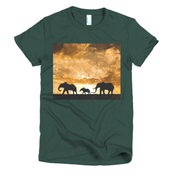 """Protect the Elephants,"" Short sleeve women's t-shirt - t-shirt - COOLEST PRINTED T-SHIRTS, TANKS, TOTES & HOODIES BY JANET'S ARTWORK - 4"