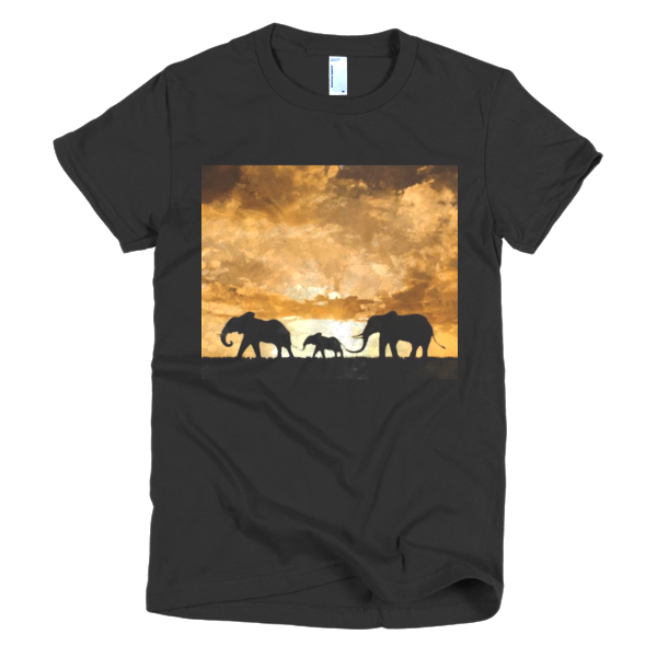 """Protect the Elephants,"" Short sleeve women's t-shirt - t-shirt - COOLEST PRINTED T-SHIRTS, TANKS, TOTES & HOODIES BY JANET'S ARTWORK - 1"