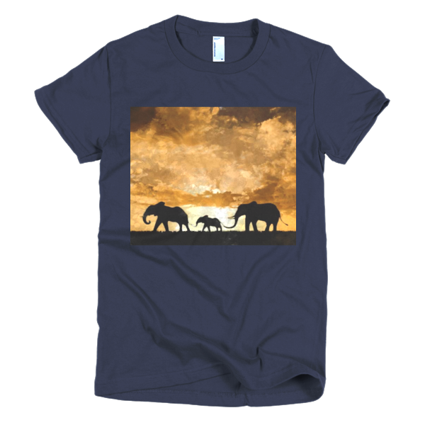 """Protect the Elephants,"" Short sleeve women's t-shirt - t-shirt - COOLEST PRINTED T-SHIRTS, TANKS, TOTES & HOODIES BY JANET'S ARTWORK - 6"