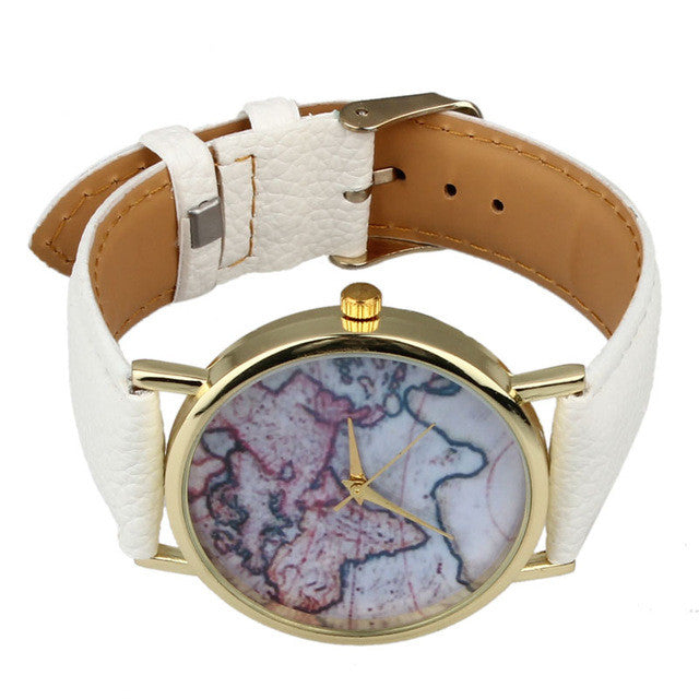 vintage earth world map watch for women