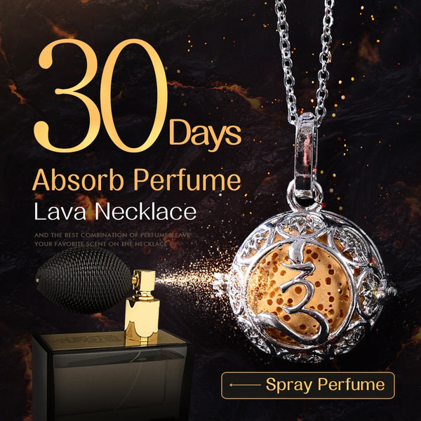 Spray your favorite perfume on this round, lava pendant and it will last for 30 days.
