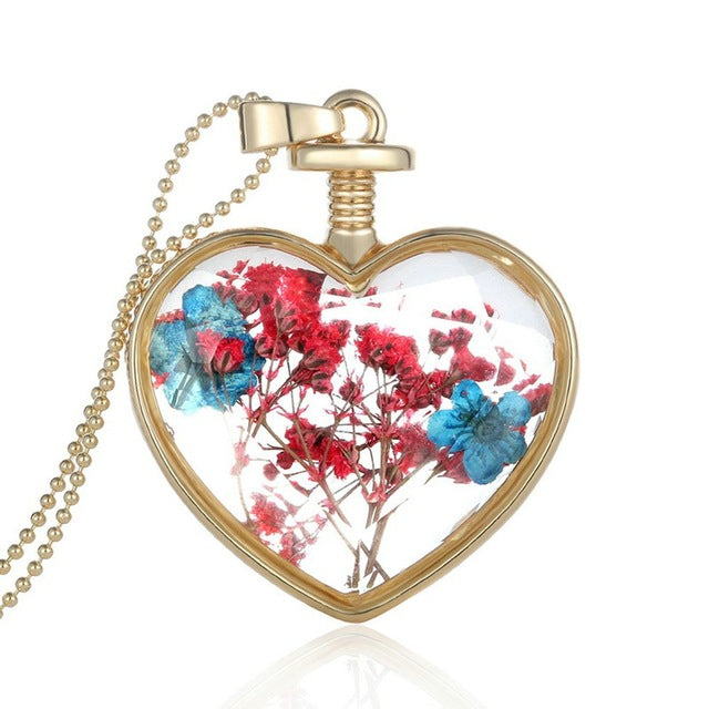 Crystal Glass heart Pendants with Dried flowers
