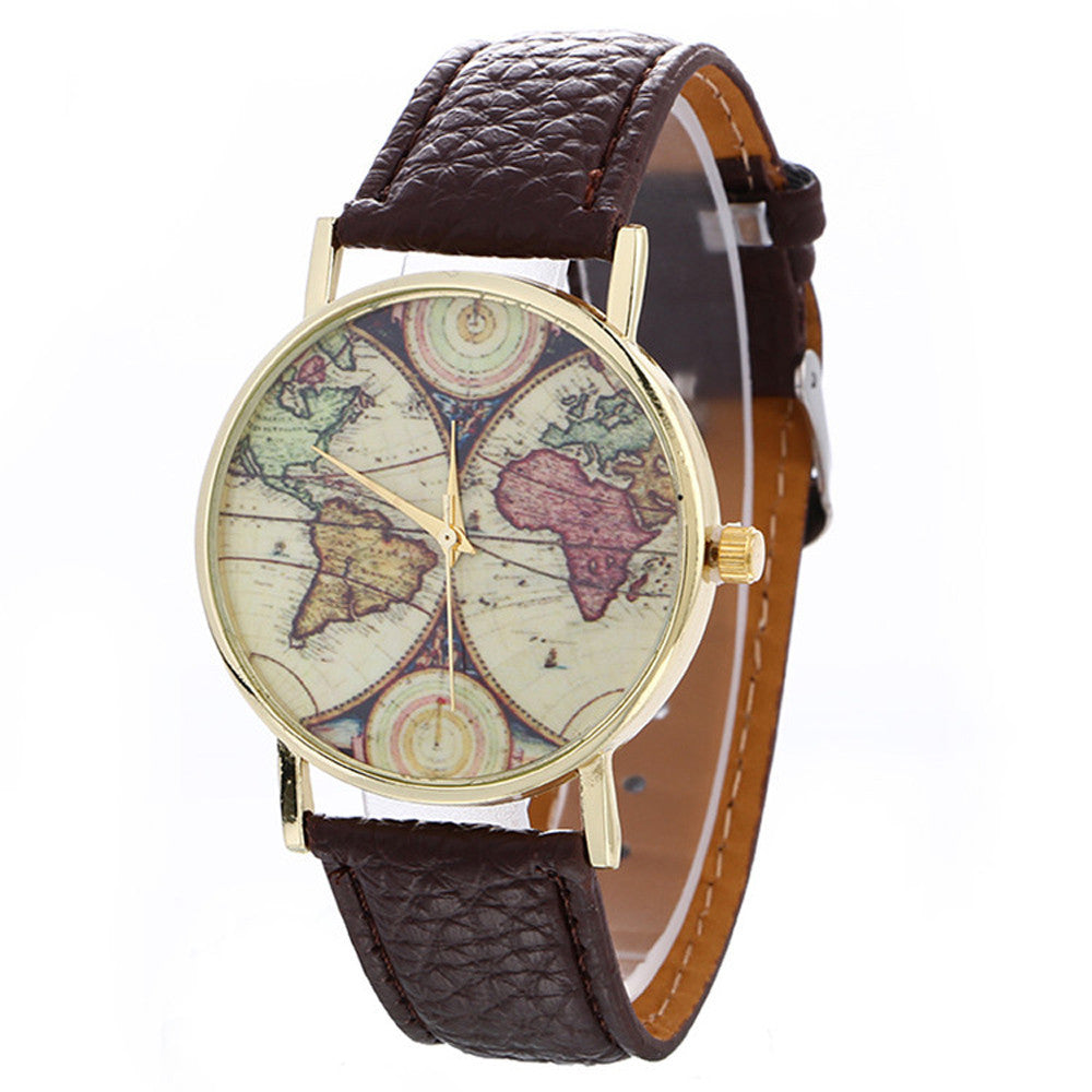 Neutral Map Pattern Fashion Leather Quartz Wrist Watch