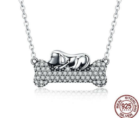 a dog lovers necklace of sterling silver.