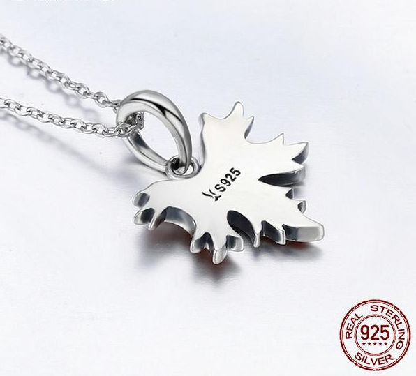 Fall Sterling Silver Maple Leaf Pendant