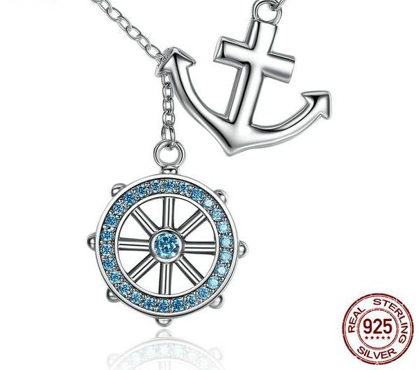 Blue Anchor & Rudder Sterling Silver Pendant