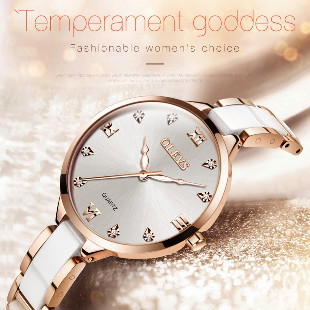 Beautiful white fashion watch.