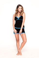 Saxy Juliet Black and Blue PJ Short Set
