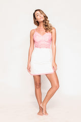 Saxy Khloe Pink and White Chemise