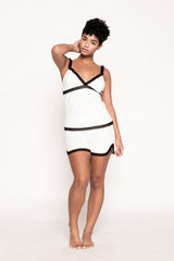 Saxy Victoria White and Black PJ Short Set