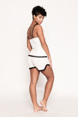 White and Black PJ Short Set
