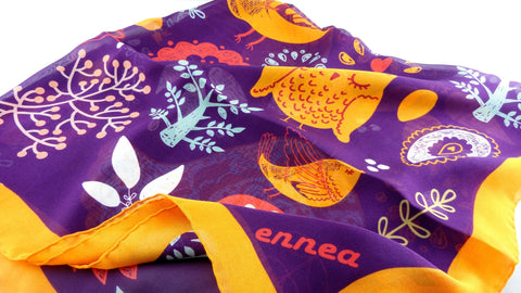 Birds & Flowers - Silk Chiffon Square Scarf