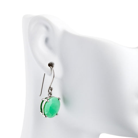 Chrysoprase round earrings in sterling silver