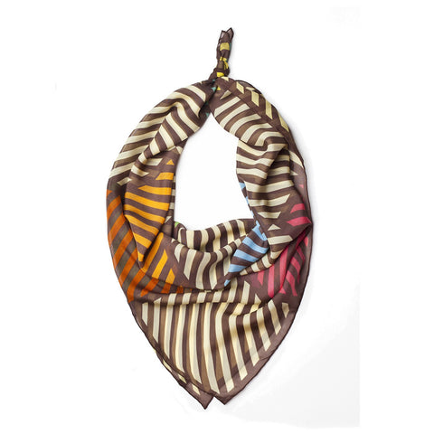 Stripes - Silk Chiffon Square Scarf