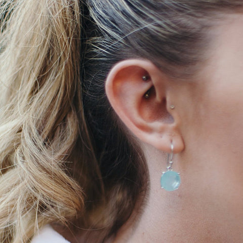 Aqua Chalcedony Round Earrings in Sterling Silver