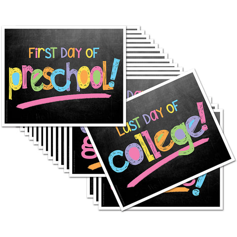 First/Last Day of School Signs - Pastel Chalk Text