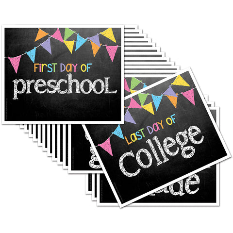 First/Last Day of School Signs - Pastel Flags