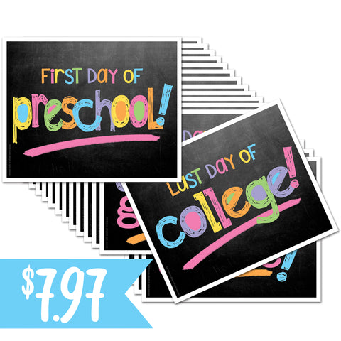 Pastel First/Last Day of School Sign Decks on Amazon Prime