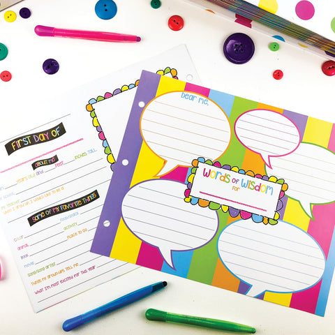 First & Last Day Template Pages for Class Keeper® School Memory Binder