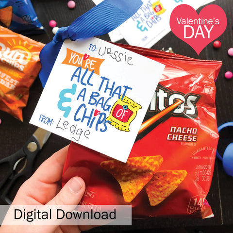 "FREE ""Bag of Chips"" Kid's Valentine's Day Digital Download"