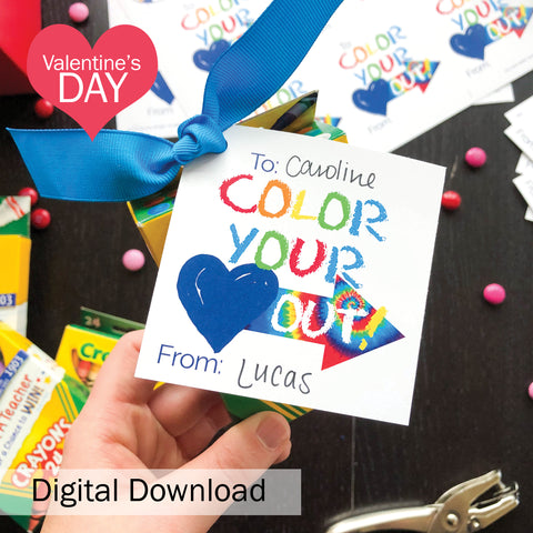 "FREE ""Color Your Heart Out"" Kid's Valentine's Day Digital Download"