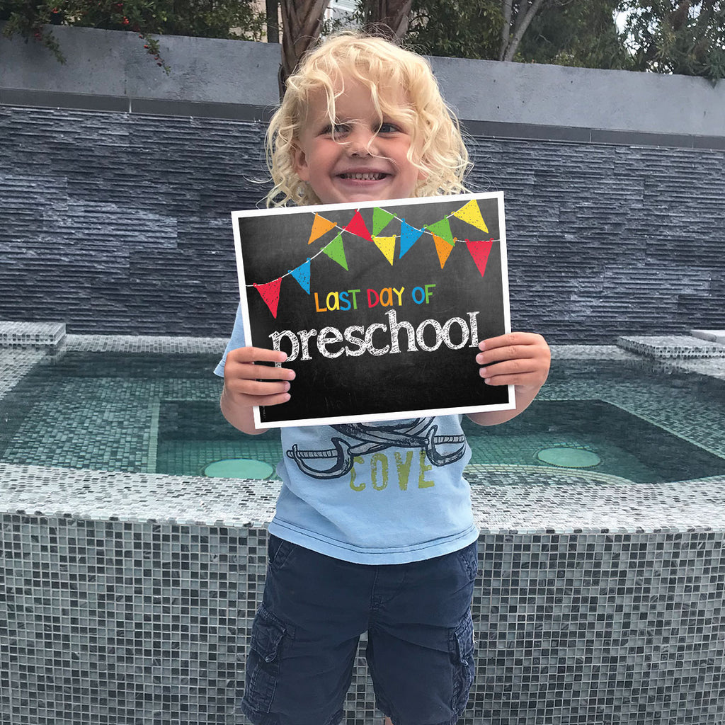 First & Last Day of School Signs | Prop Deck | 16 Grade Levels Preschool to College | Pastel Flags