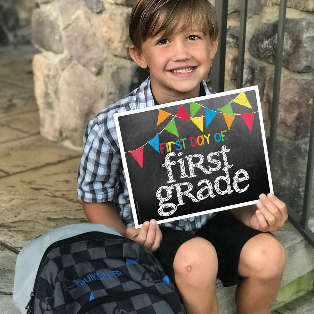 First & Last Day of School Signs | Photo Prop Deck | 17 Grades including T-K | Primary Flags
