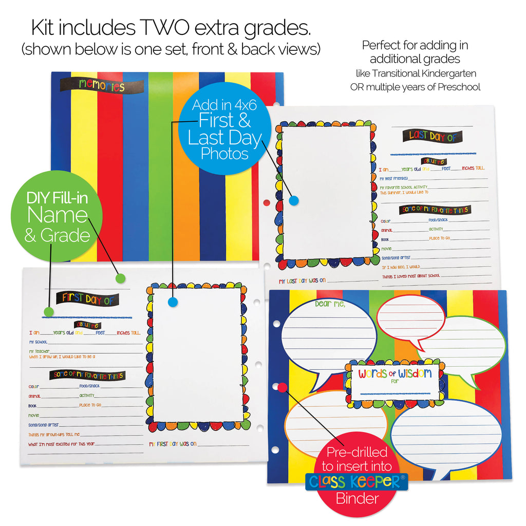 First & Last Day Extra Pages Kit for the Class Keeper® | (2) Styles