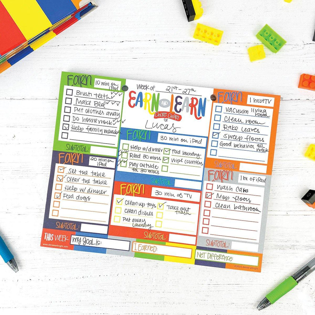 Earn & Learn™ Kids Money Management Chore Chart Pad | Dry Erase Savings Tracker