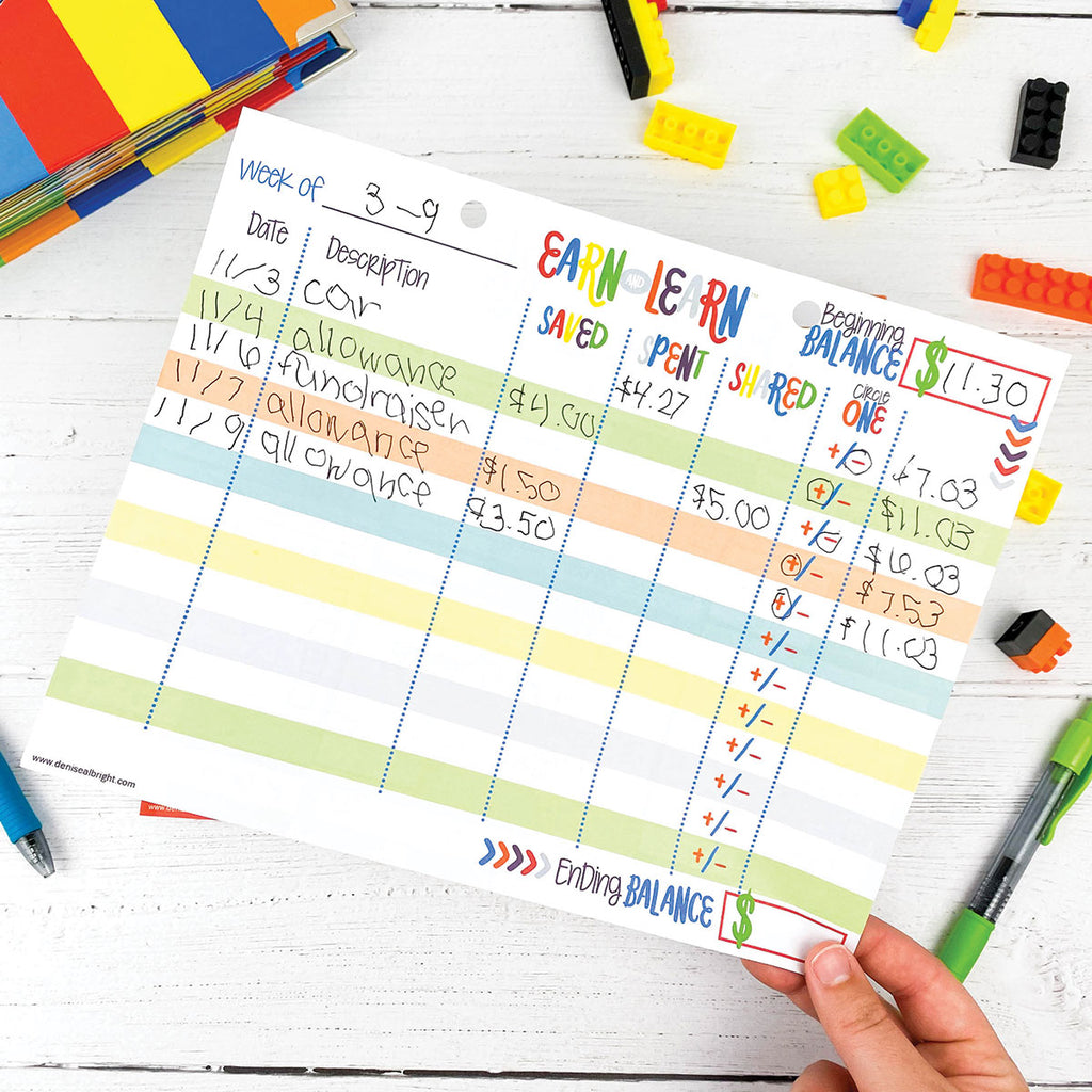 ALL NEW! Earn & Learn™ Kids Money Management Chore Chart Pad | Dry Erase Savings Tracker