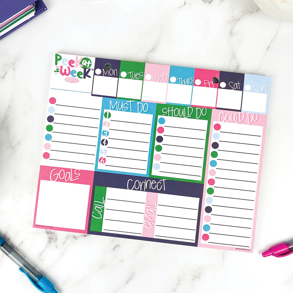 ALL-NEW! Peek at the Week® Weekly Planner Pad | Checklists, Priorities, Dry Erase Backer