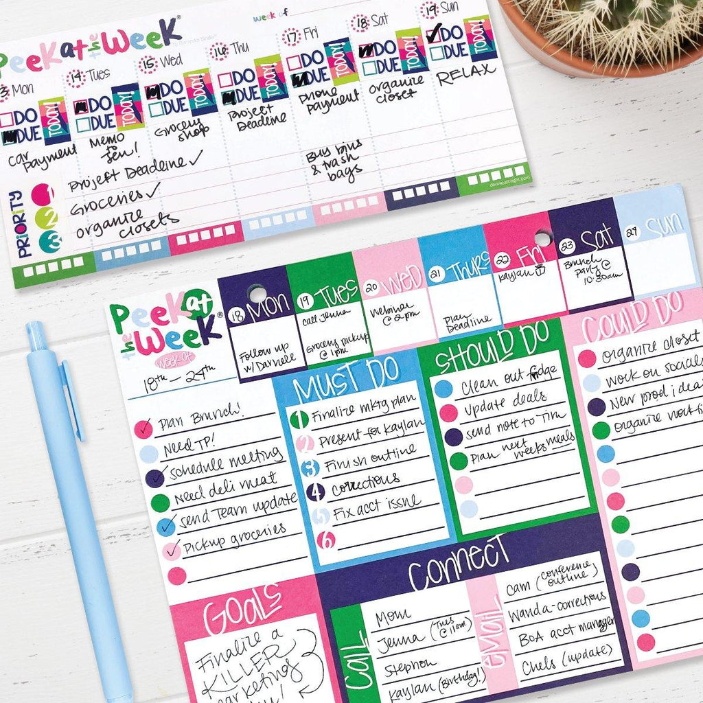 Peek at the Week® Weekly Planner Pad Set of TWO | Checklists, Priorities, Dry Erase Backer