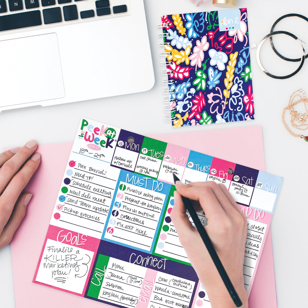 Peek at the Week® 2.0 | Weekly Planner Pad | Checklists, Priorities, Dry Erase Backer