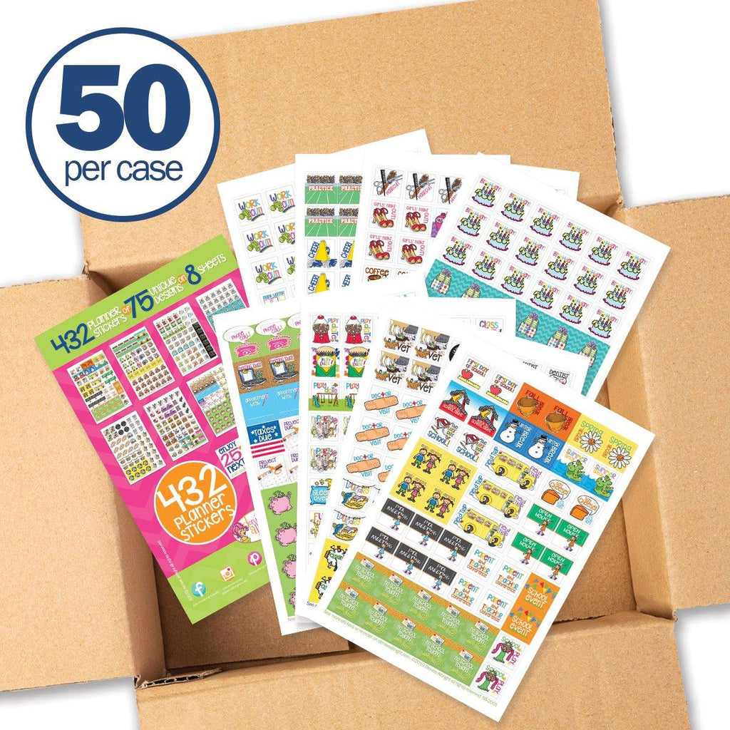 Buy-the-Case BULK Planner Sticker Sets | 8 Styles | Case of 50 Sticker Sets | Choose from (8) Styles