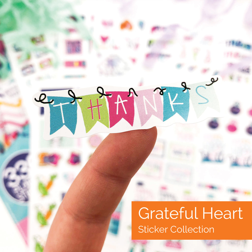 Grateful Heart Stickers | Gratitude, Positive, Good Vibes, Encouraging, Etc.