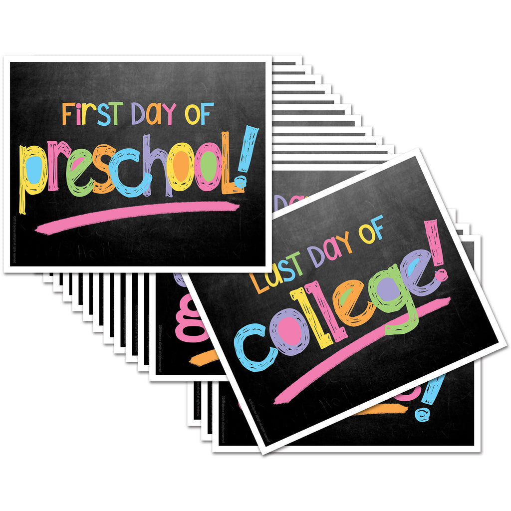 First & Last Day of School Signs | Prop Deck | 16 Grade Levels Preschool to College | (4) Styles