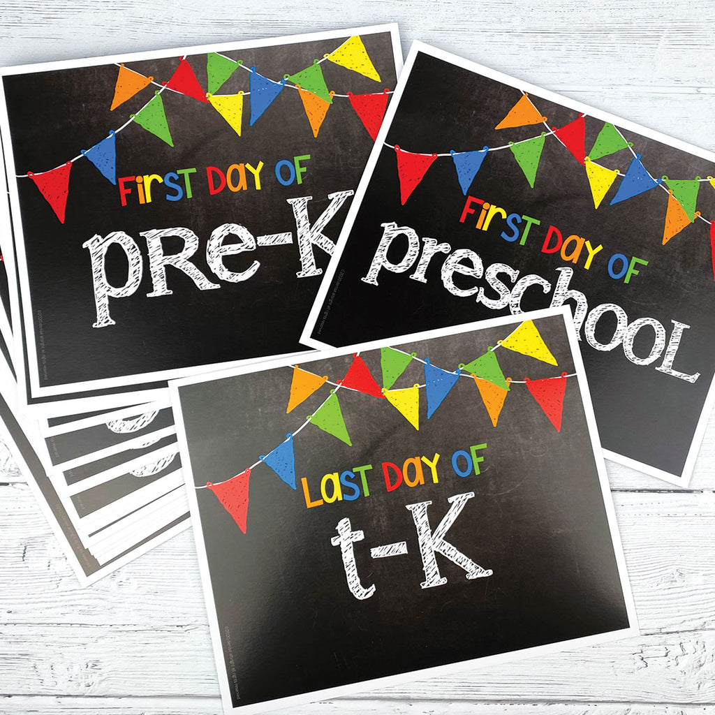 NEW! First & Last Day of School Signs | Photo Prop Deck | 17 Grades including T-K | (4) Styles
