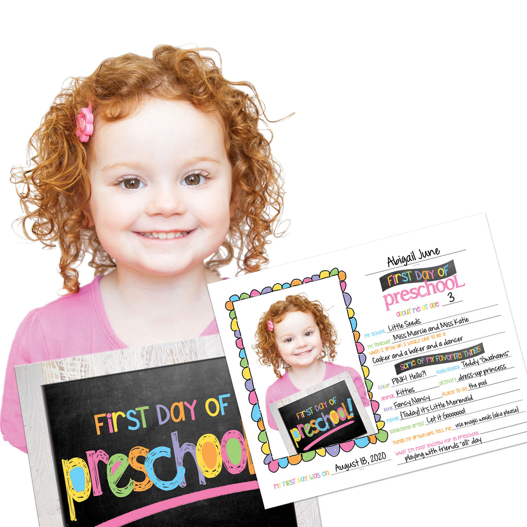 First & Last Day of School Photo Prop Single Grade | Preschool, Pre-K, Kindergarten or First Grade
