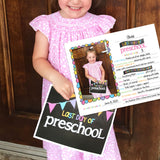 back to school card - grade, pre-K, first day of school, pictures, girl