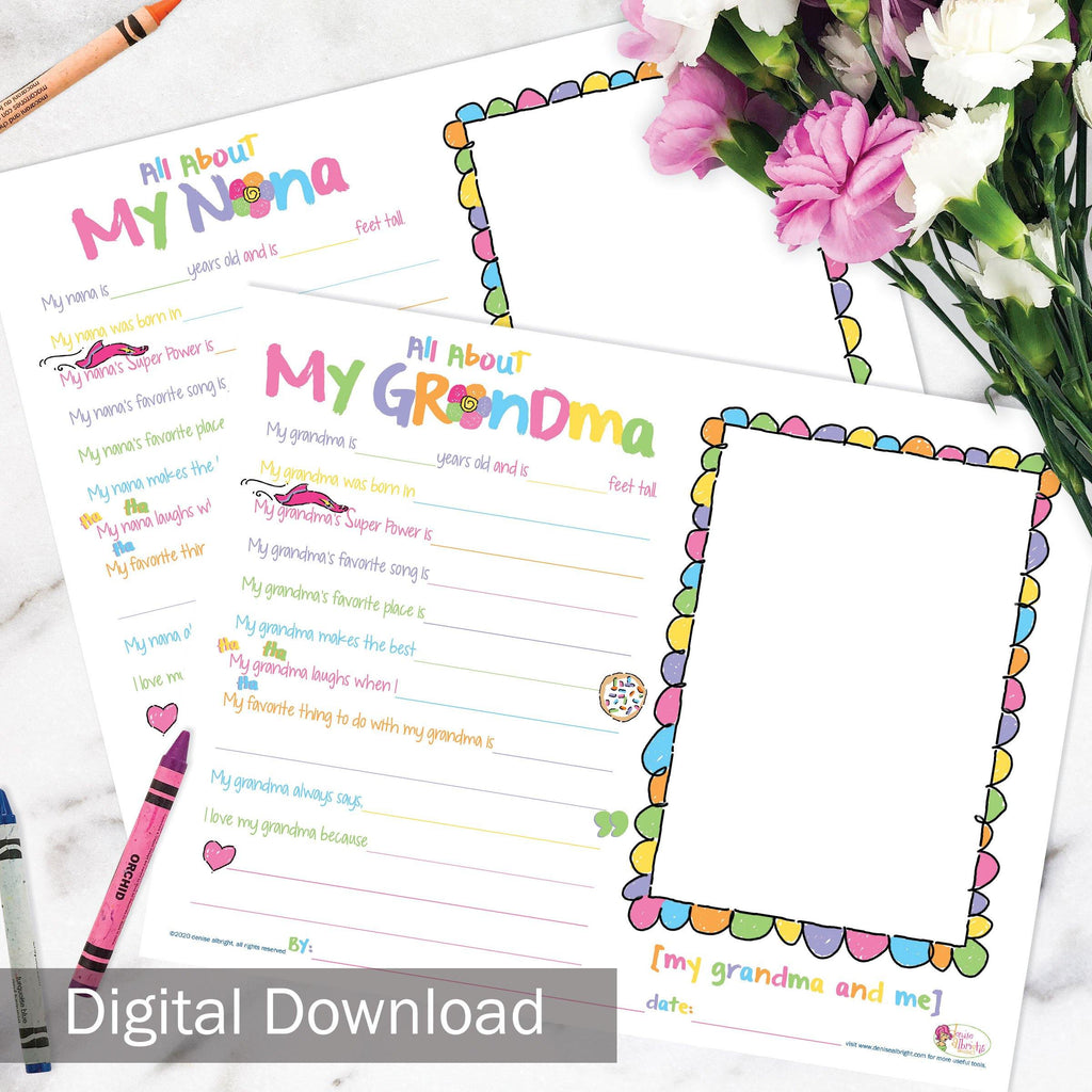 FREE Digital Download | About My Grandma/Nana | Grandparents Day, Birthday Gift | Print-ready, Delivered Instantly