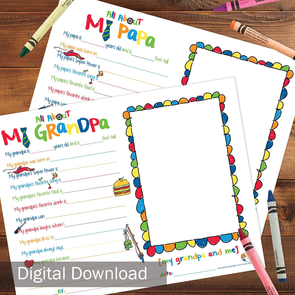 FREE Digital Download | About My Grandpa/Papa | Grandparents Day, Birthday Gift | Print-ready, Delivered Instantly