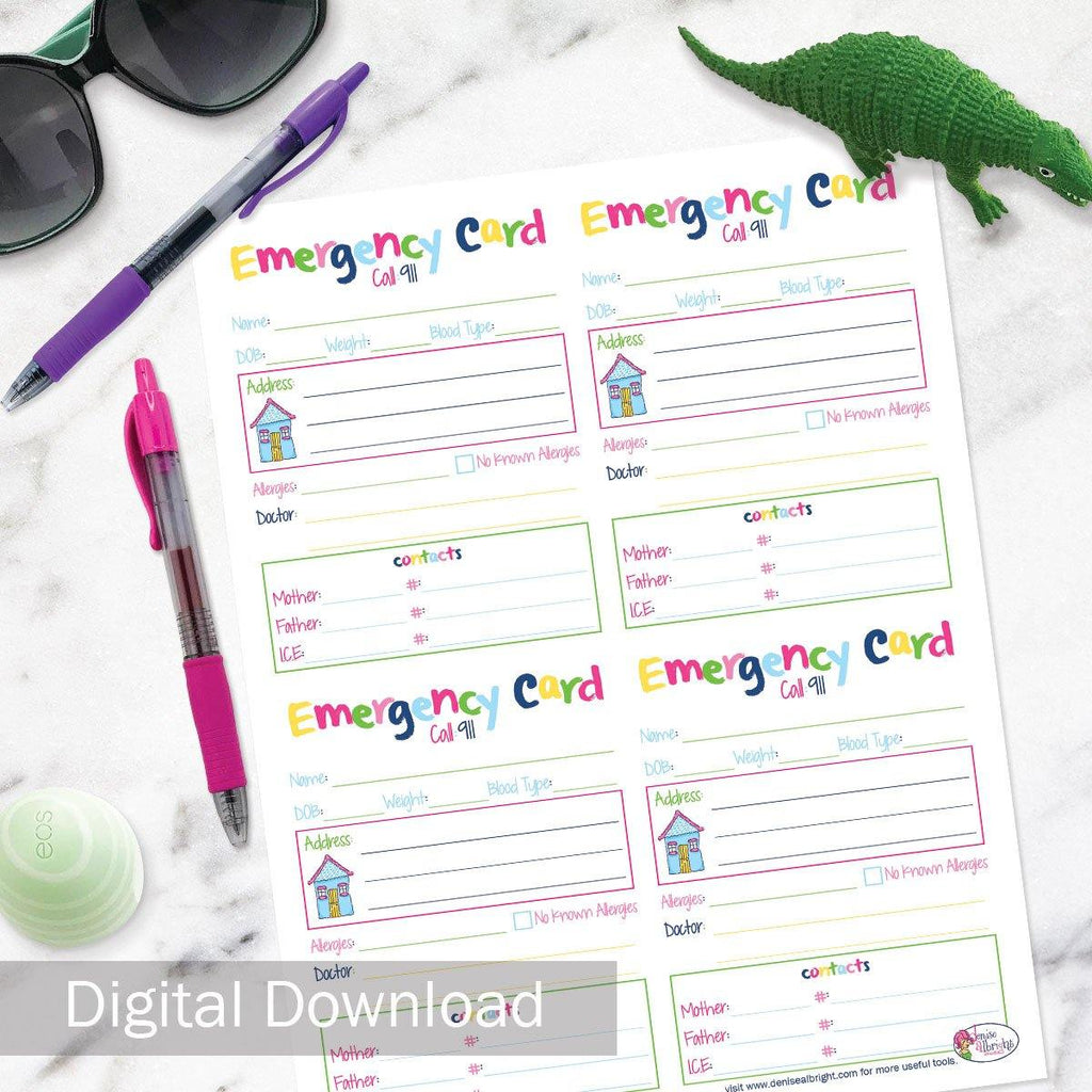 FREE Digital Download | Kids' Emergency Card | All Bright & Cheery | Print-ready, Delivered Instantly